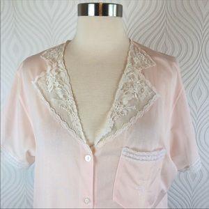Vintage Olga Pink Button Down Pajama Top, Medium